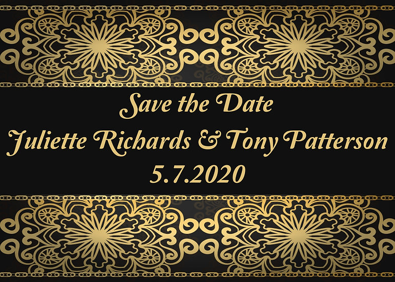Gold and Black Save the Date