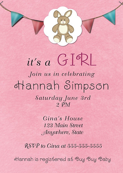 Bunny Stuffed Animal Baby Shower Invitation