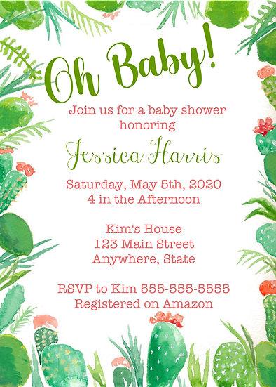 Cactus Border Baby Shower Invitation