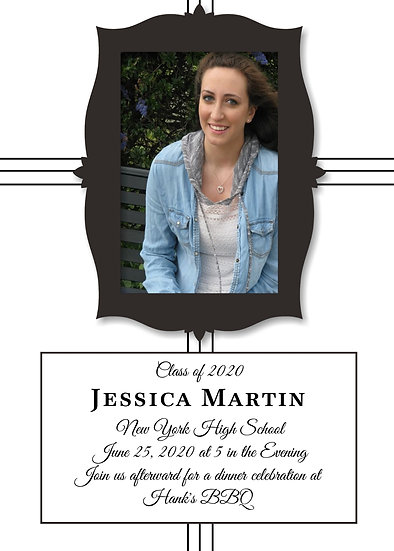 One Pictured Framed Graduation Announcement