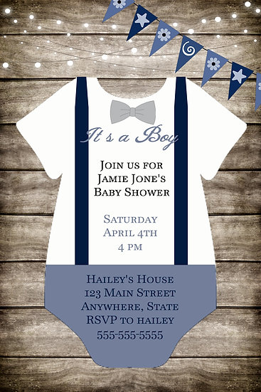 Wood and Onesie Baby Shower Invite