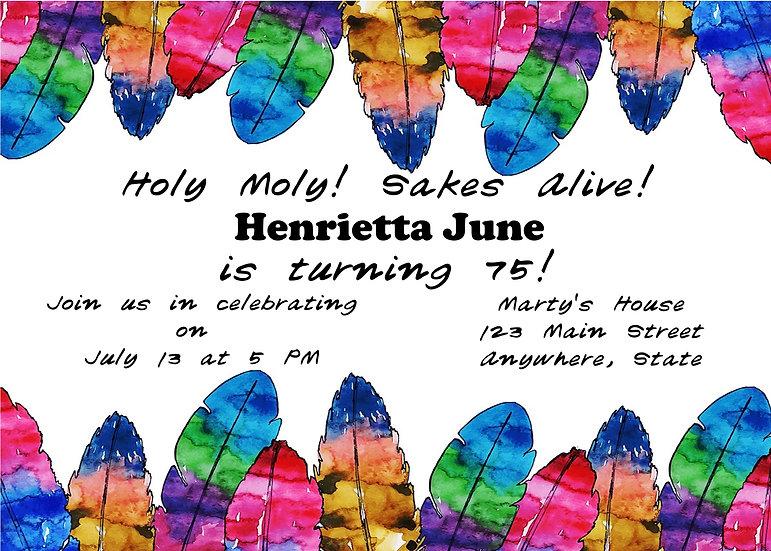 Rainbow Feather Birthday Invitation