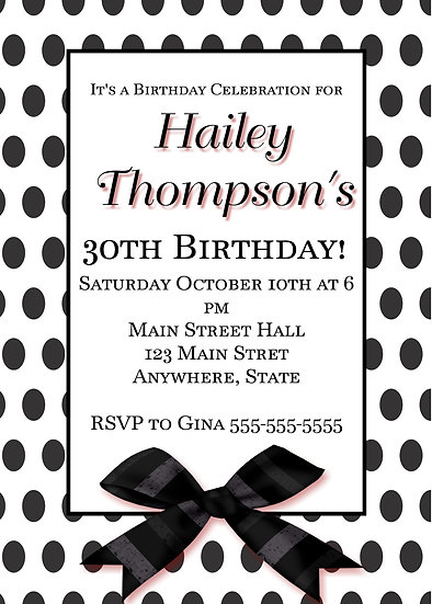 Black Polka Dot and Bow Birthday Invitation