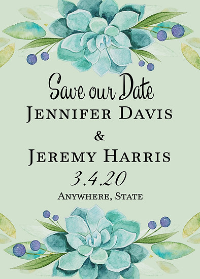 Teal Flower Save the Date