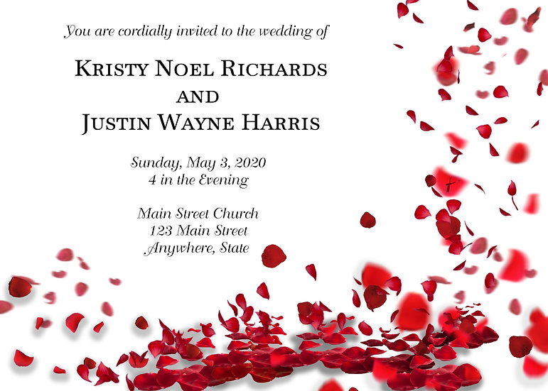 Falling Rose Petals Wedding Invitation