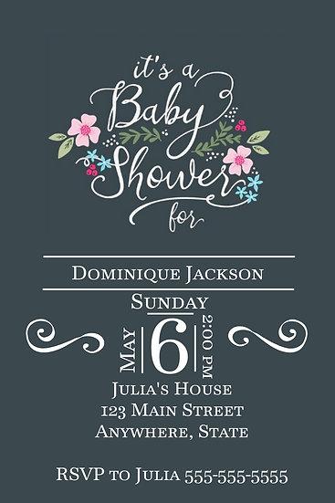 White Flourish and Flower Baby Shower