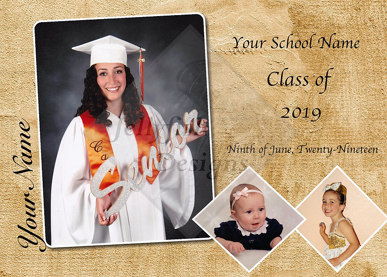 Wrinkled Paper Background Graduation Announcement