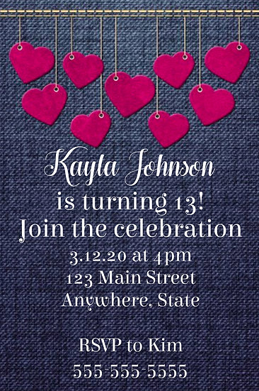 Jean Hearts Birthday Invitation