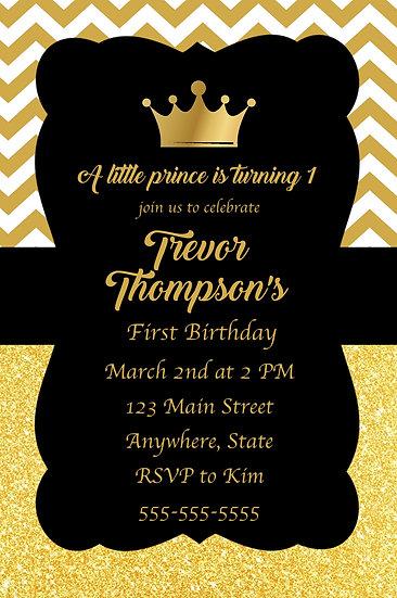 Gold Prince Birthday Invitation