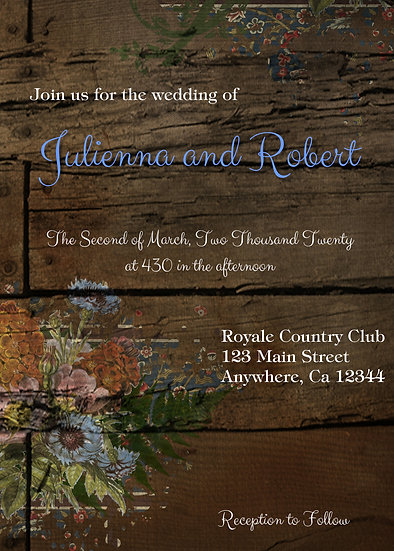 Rustic Flowers Wedding Invitation Package