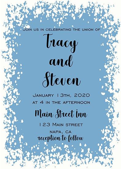 Blue and White Splatter Wedding Invitation Package