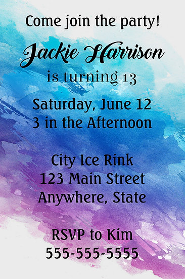 Pastel Watercolor Birthday Invitation