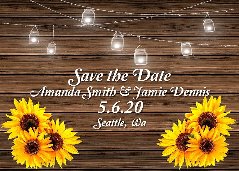Mason Jar and Sunflower Save the Date