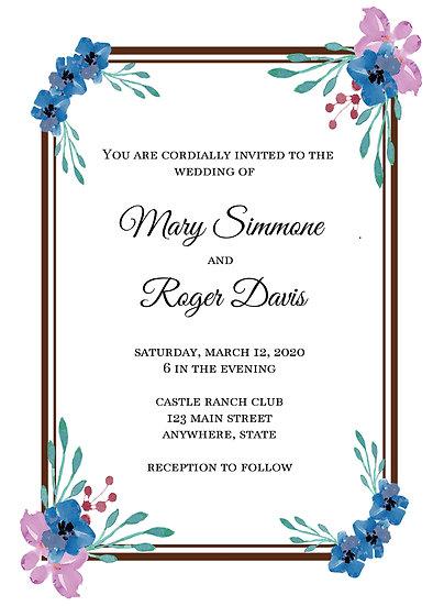 Pink and Blue Flower Bordered Wedding Invitation