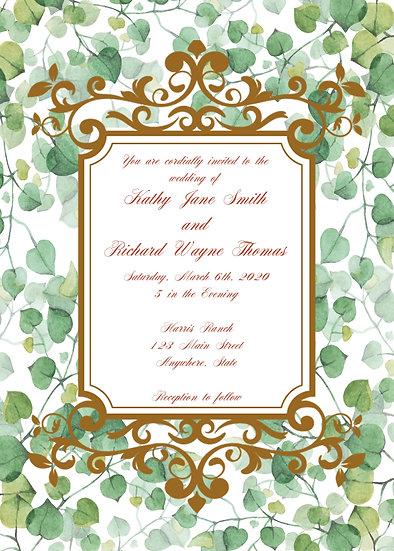 Leafy Framed Wedding Invitation