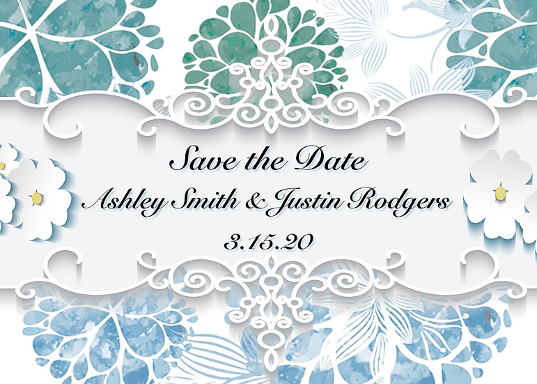 Blue and Teal Flourish Save the Date