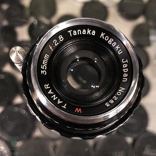 Tanaka Kogaku W Tanar 35mm f2.8 LTM Black Paint w/ Viewfinder and Leather Case