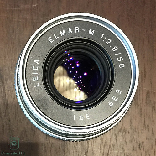 Leica Elmar-M 50mm F2.8 collapsible V.2 silver 11823 with original hood 12549