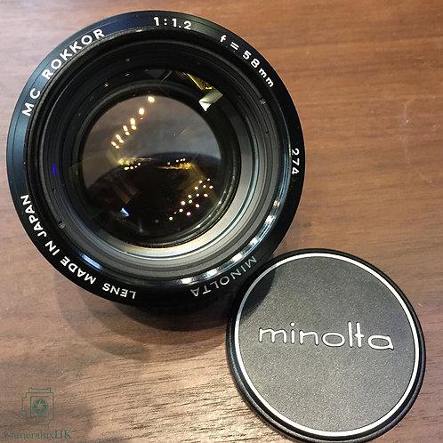 Minolta MC Rokkor 58mm f1.2 SR Mount