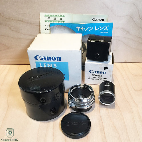 Canon 28mm f2.8 M39 extra-wide lens + 28mm viewfinder, w/ box(SOLD)