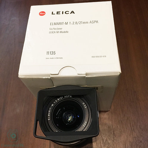 Leica Elmarit-M 21mm f2.8 ASPH Black 11135 with Hood 12592 and Box