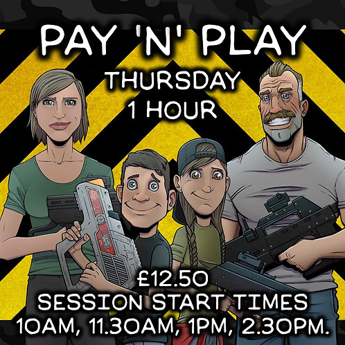 HALF TERM PAY 'N' PLAY THURS 29TH OCT 1 HOUR (VARIOUS START TIMES)