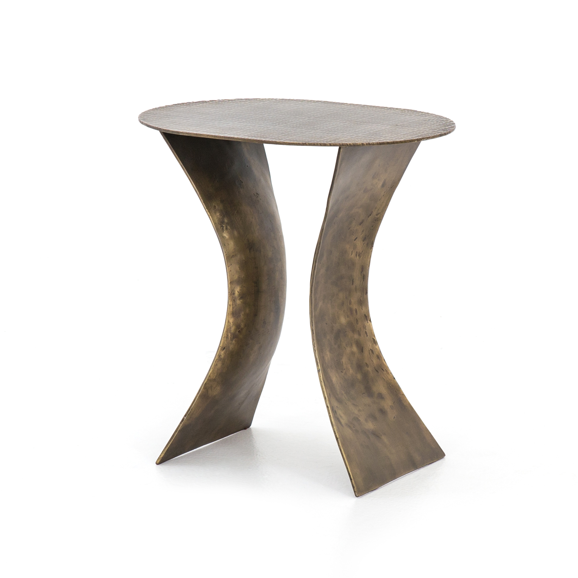 Iron Etch End Table Antique Brass Si
