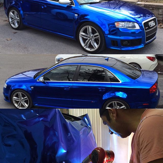 Blue chrome for that RS4 #chromevinyl #nuskingraficas #audi #rs4 #viviidvinyl