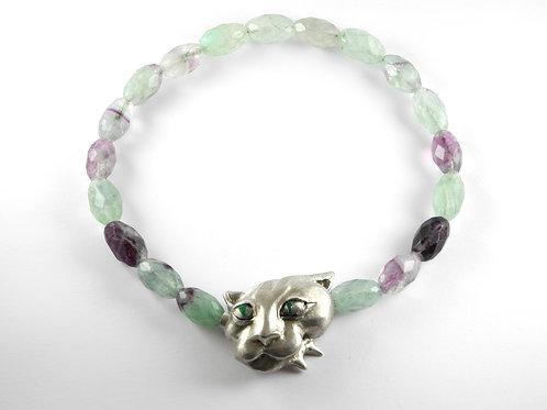 Kollier Grüne Katze / necklace Green Cat