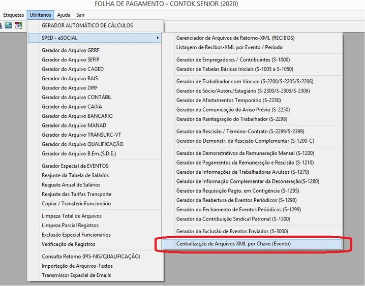 """6 - CENTRALIZAÇÃO DE ARQUIVOS XML POR """"CHAVE / PERÍODO / EVENTO"""""""