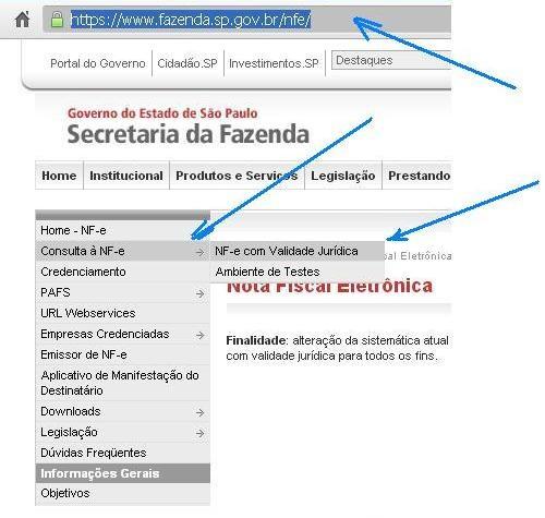 GERAÇÃO DO ARQ. XML A PARTIR DO SITE DA FAZENDA DE SÃO PAULO