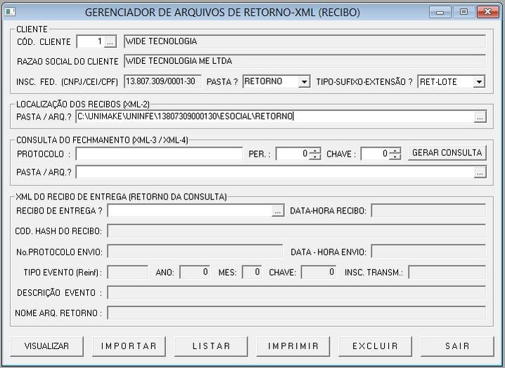 GERENCIADOR DE ARQ. XML EFD-REINF (Protocolos / Recibos)