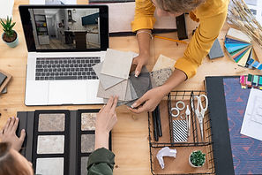 Two young female designers of interior d