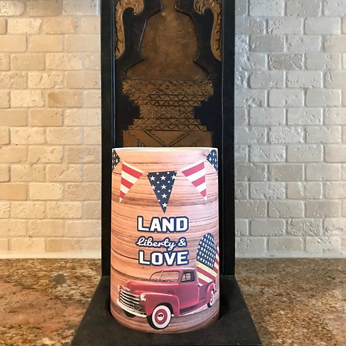 Land Liberty & Love,  Flameless Candle, 4x6, Keleka Designs