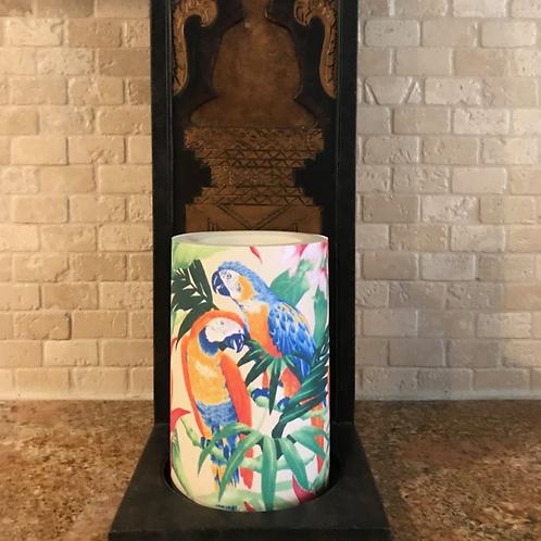 Paradise Parrots, Flameless Candle, 4x6, Keleka Designs