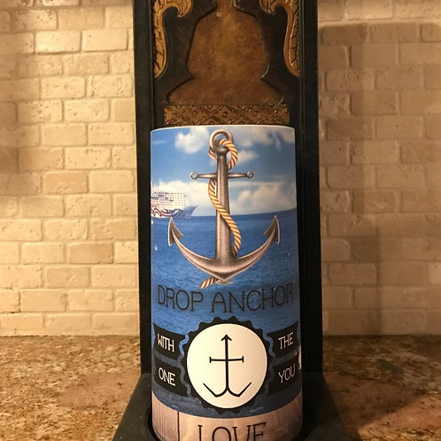Drop Anchor With The One You Love, Tall,  Flameless Candle, 4x8, Keleka Designs