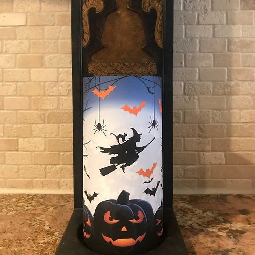 Flying into Halloween, Tall, Flameless Candle, 4x8, Keleka Designs