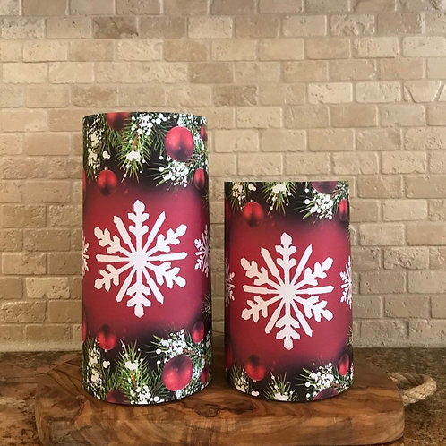 Snowflakes and Ornaments, Set, Flameless Candle ,4x6, 4x8, Keleka Designs