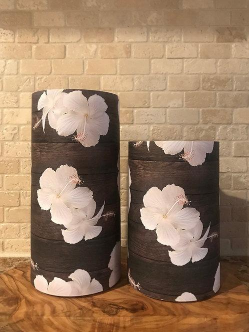 Classy Hibiscus on Dark Wood, Set, Flameless Candle, 4x6,4x8, Keleka Designs