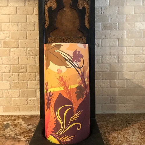 Autumn Leaves, Tall, Flameless Candle , 4x8, Keleka Designs