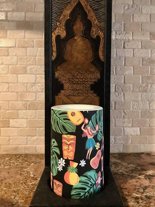 Tropical Hula,  Flameless Candle, 4x6, Keleka Designs