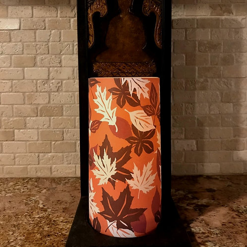 Leaves of Fall, Tall,  Flameless Candle, 4x8, Keleka Designs