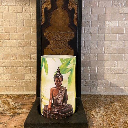 Buddha Statue,  Flameless Candle, 4x6, Keleka Designs