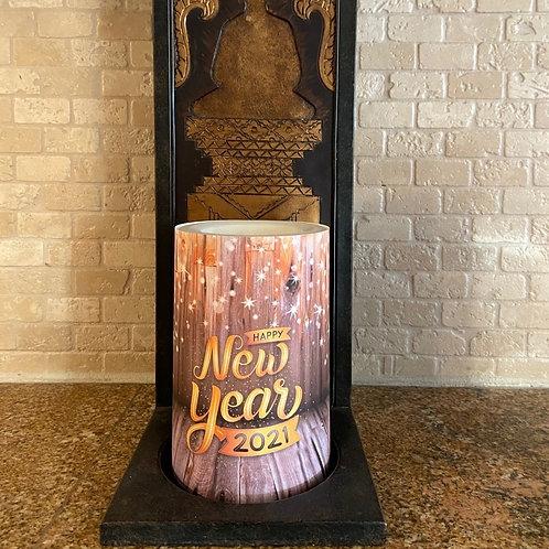 Happy New Year 2021,  Flameless Candle, 4x6, Keleka Designs