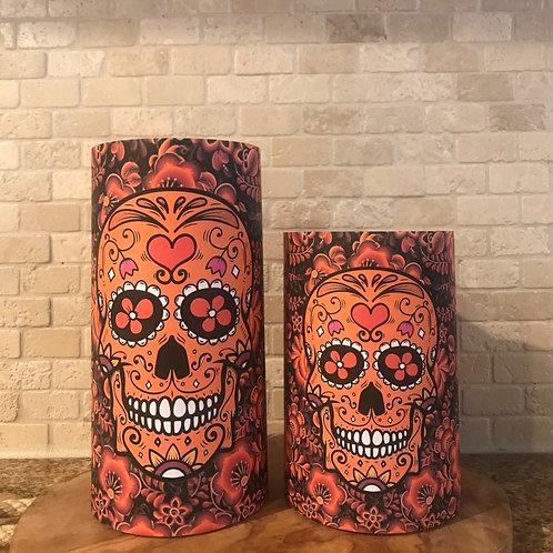 Sugar Skull of Lights, Set, Flameless Candle, 4x6,4x8, Keleka Designs