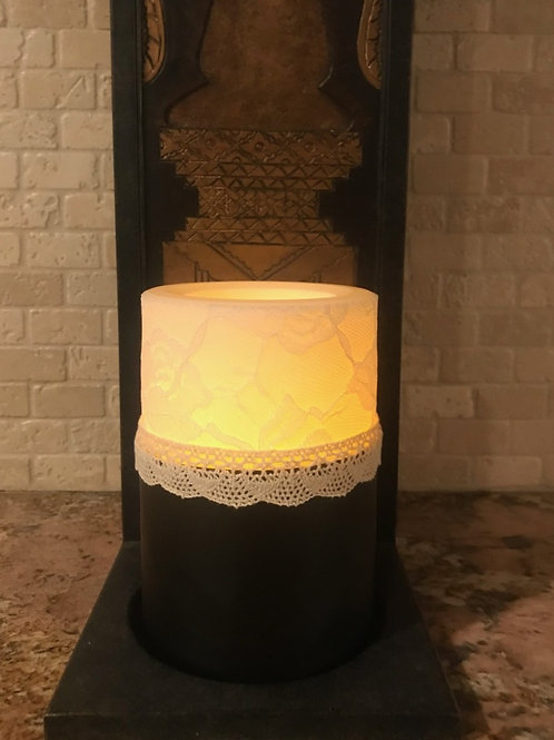 Leather and Lace,  Flameless Candle, 4x6, Keleka Designs