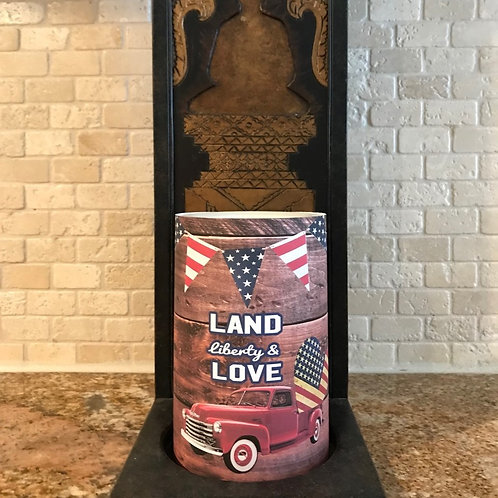 Land Liberty and Love, Dark Brown, Flameless Candle, 4x6, Keleka Designs