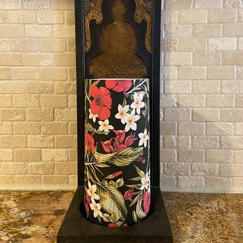 Hibiscus & Plumerias, Tall, Flameless Candle,  4x8, Keleka Designs