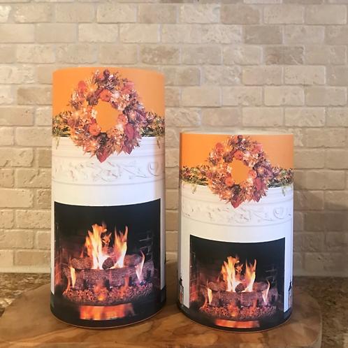 Fall Fireplace Mantel, Set, Flameless Candle, 4x6, 4x8, Keleka Designs