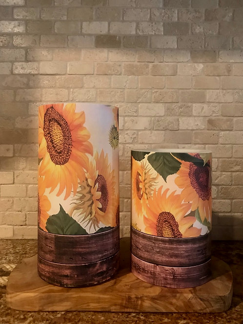 Country Sunflowers, Set, Flameless Candle, 4x6, 4x8, Keleka Designs